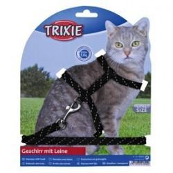 Harnais chat avec laisse, reflechissant, nylon 18-35 cm/10 mm, 1,30 m