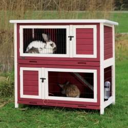 natura clapier pour petits animaux, 2 etages 116 x 111 x 65 cm, rouge/blanc