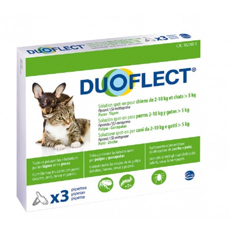 DUOFLECT CHAT 5Kg CHIEN 2-10KG 3 PIPETTES