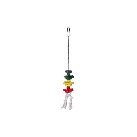 Jouet bois multicolore avec chaine/corde 30 cm