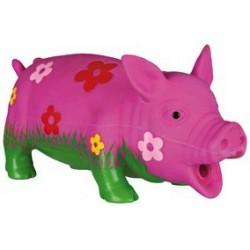 Cochon avec fleurs, avec son original, latex 20 cm