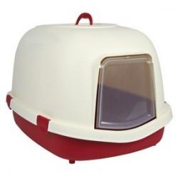 Bac a litiere Primo avec toit/filtre/porte 56 x 47 x 71 cm, bordeaux/creme