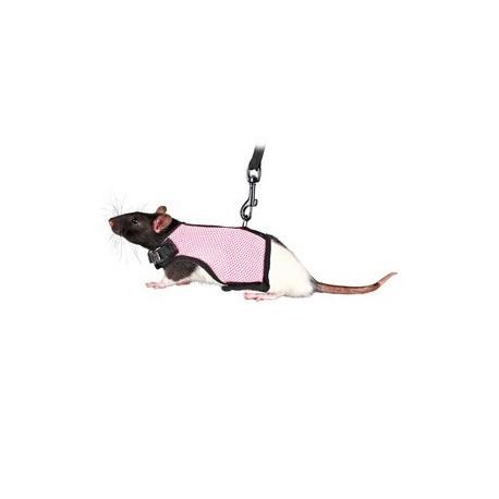Harnais doux avec laisse pour rats, nylon 12-18 cm, 1,20 m